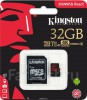 Micro SDHC 32GB Kingston class 10 UHS-I Canvas Select up to 80MB/s с адаптером